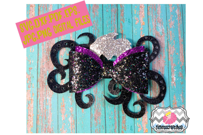 mermaid ursula inspired  sea witch  wicked hair bow