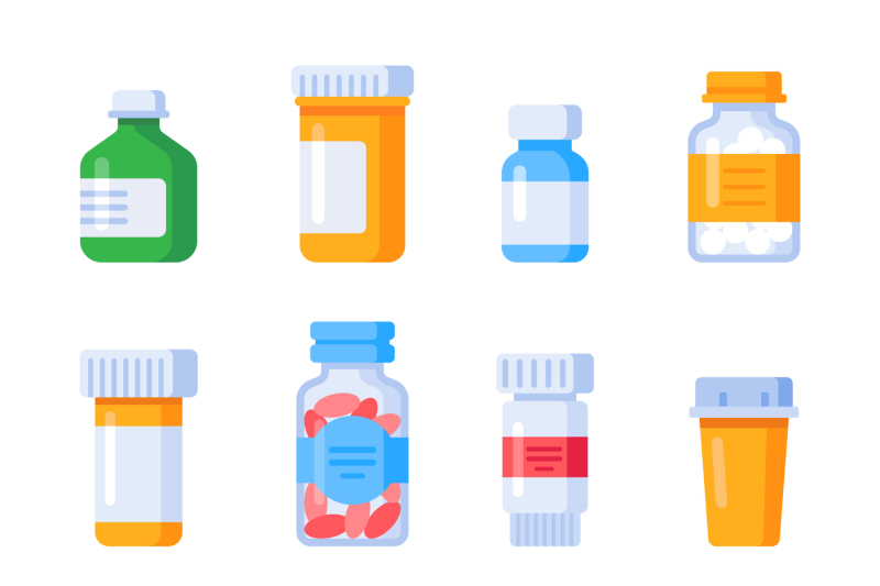 Flat Medicine Bottles Vitamin Bottle With Prescription Label