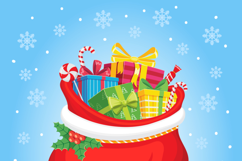 Santa Claus Gifts In Bag Christmas Presents Sack Pile Of Sweets