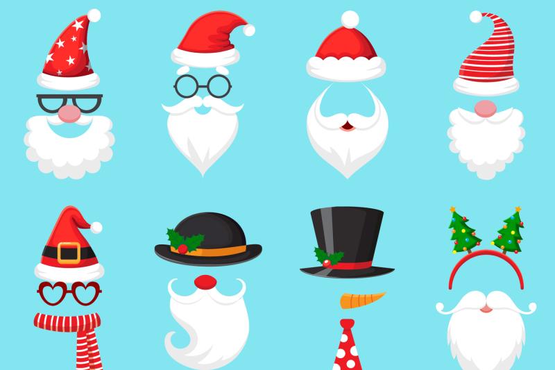 724aef191bc73 Christmas cartoon hats. Xmas santa hat