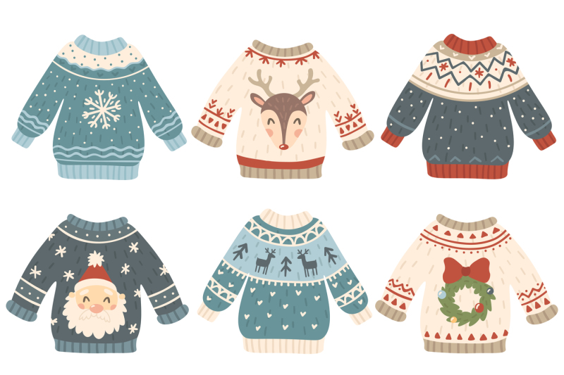 Ugly Christmas Sweater Cartoon.Ugly Christmas Sweaters Cartoon Cute Wool Jumper Knitted