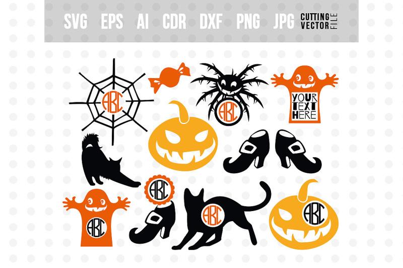 Free Halloween Monogram Svg Bundle Svg Eps Ai Dxf Png Jpg Svg Free Svg Cut Files Silhouette