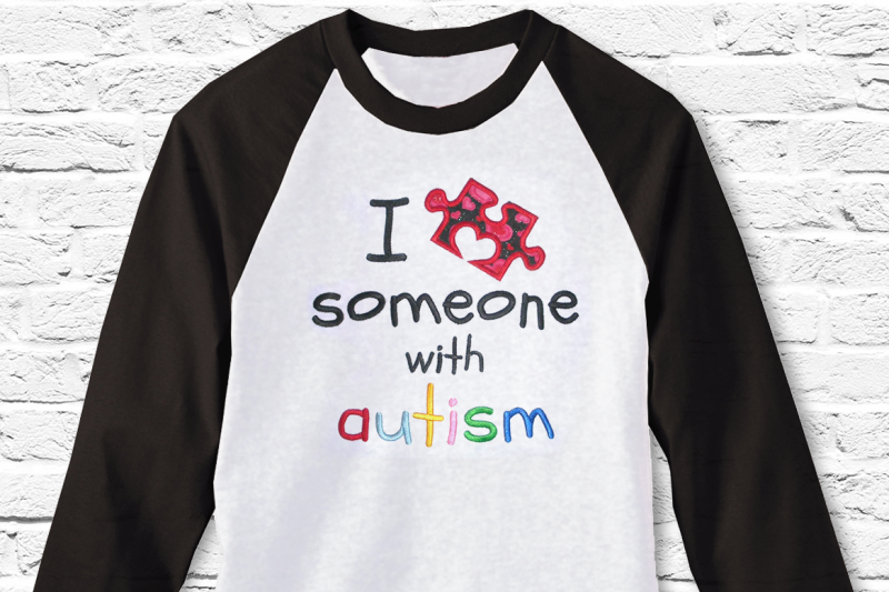 Free I Love Someone with Autism Puzzle Piece | Applique Embroidery