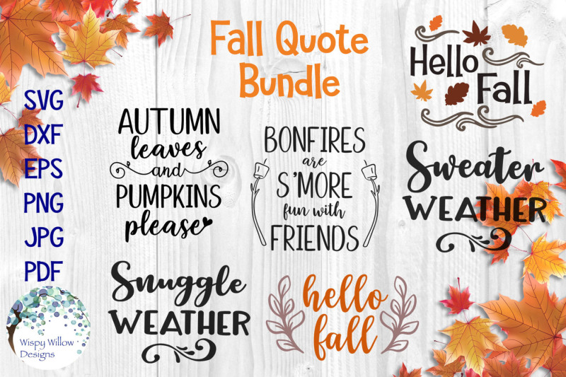 Fall Quote Bundle Scalable Vector Graphics Design Icons Svg File New