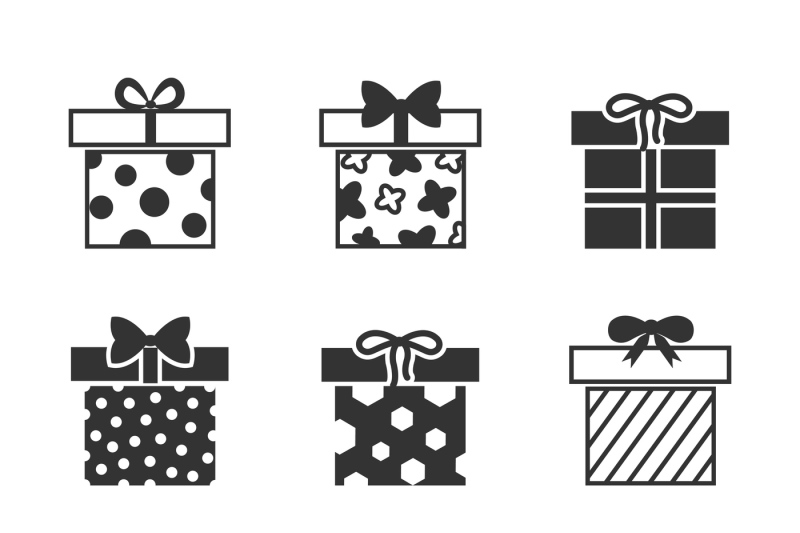 Gift Boxes Vector Icons Set In Black And White By Microvector