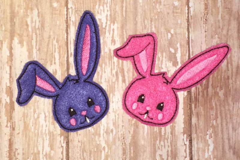 Easter bunny face ith feltie applique embroidery by designed by