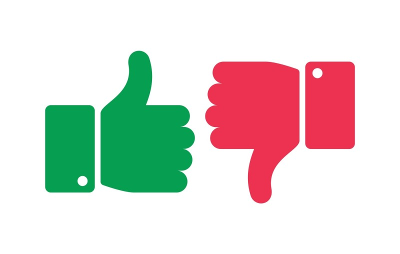 Thumbs up and down isolated icons. Yes and no fin