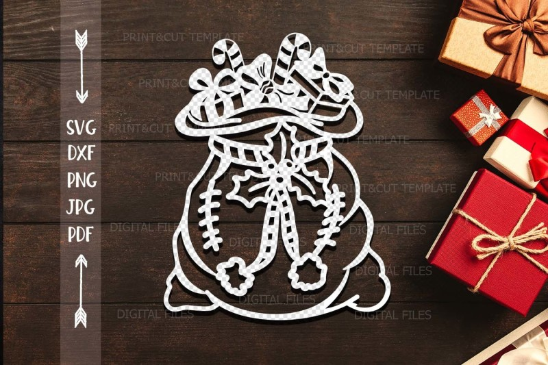 Free Christmas Santa Sack Paper Machine Cut Template Svg Dxf File Crafter File Download Free Christmas Truck Svg Files