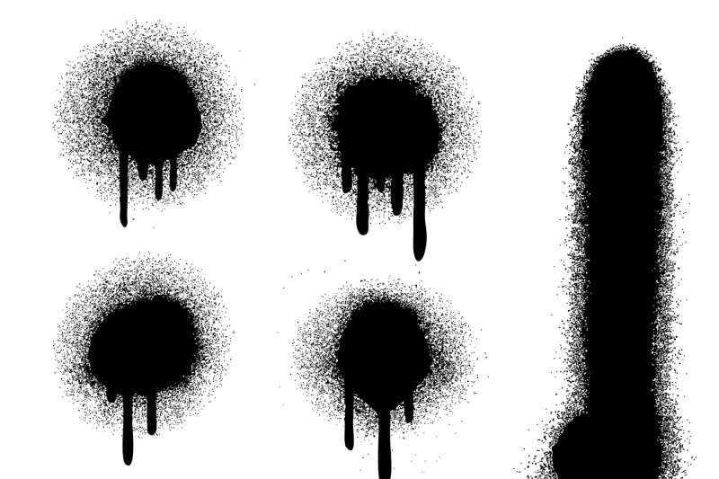 Black spray paint with drips isolated on white vector set By