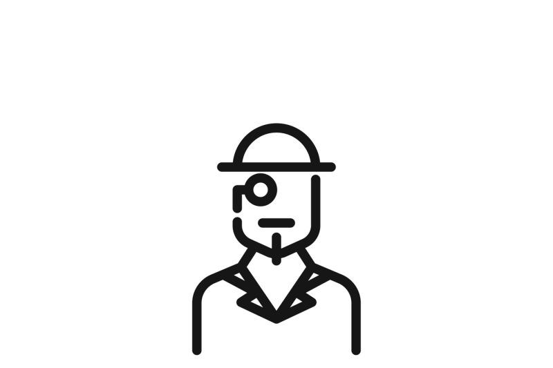 Vintage Gentleman Logo Or Retro Hat Man Silhouette Vector Icon By