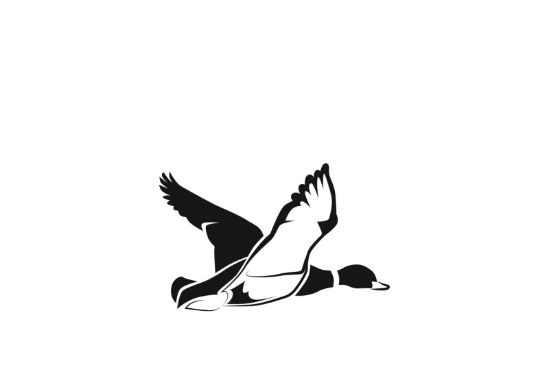 Flying Duck Silhouette Or Hunting Target Vector Icon By