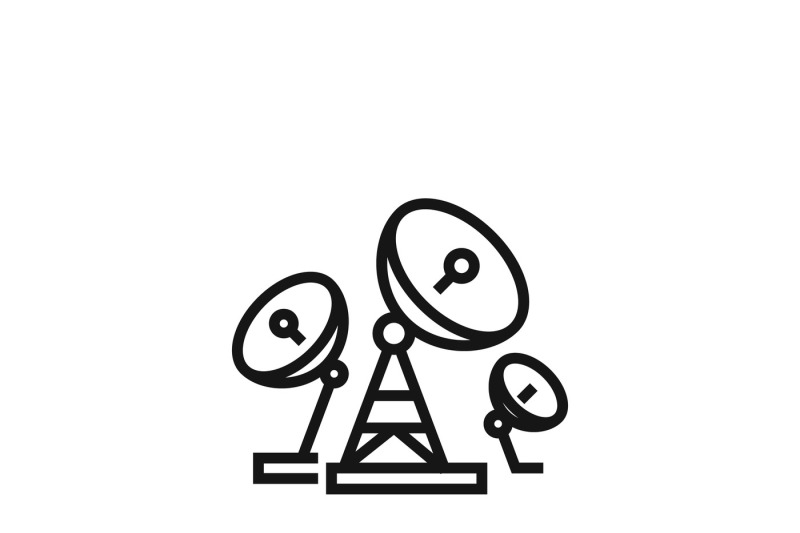 Telecommunications Or Radio Broadcasting Antenna Vector Icon By