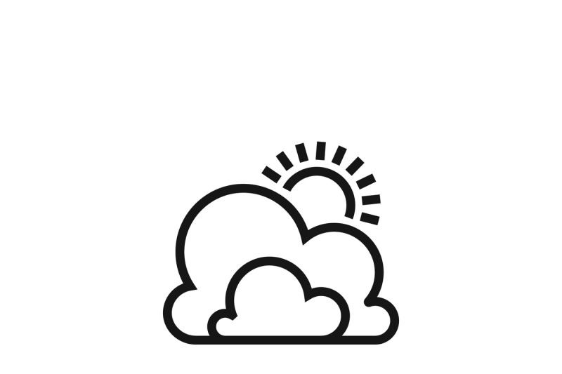 Weather Symbol Or Sun And Clouds Outline Vector Icon By