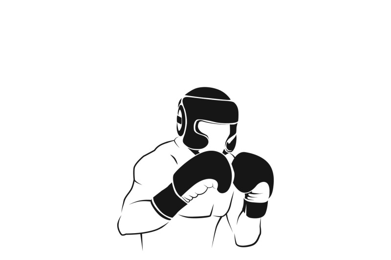 Boxer Silhouette Or Boxing Combat Vector Icon By Microvector