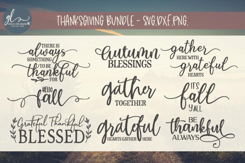 Thanksgiving Cut File Bundle Svg Dxf Png By Grace Lynn Designs Thehungryjpeg Com