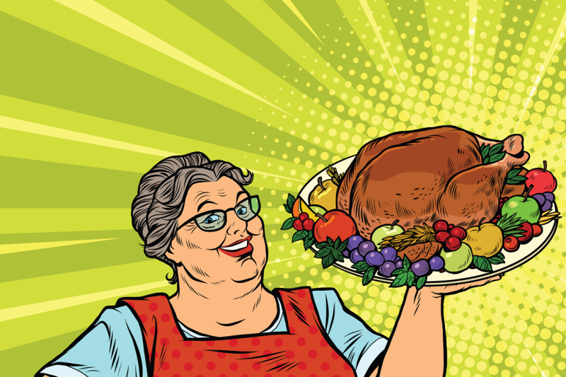 Grandma With A Christmas Or Thanksgiving Roast Turkey By