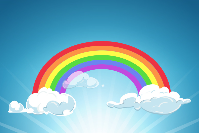 Vector Rainbow Clouds Blue Sky And Grass By Microvector