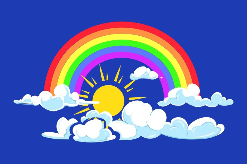 Sun Rainbow And Clouds Deep Blue Sky By Microvector