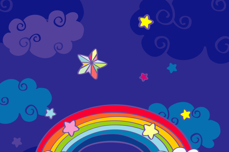 Hand Drawn Cartoon Rainbow And Clouds Night Sky By Microvector