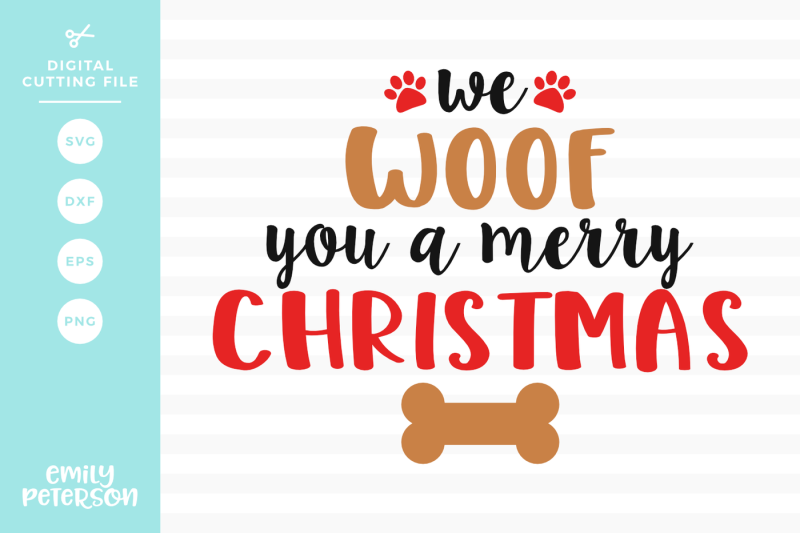 We Woof You A Merry Christmas Svg Dxf Design Free Beach Svg Cut Files