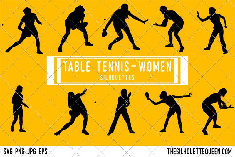Table Tennis Women Silhouette Vector By The Silhouette Queen