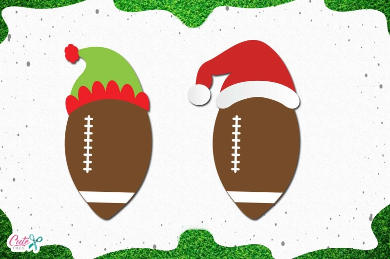 Free Football With Santa And Elf Hats Svg Cut Files For Craftter Crafter File Free Svg Jpeg Design Files For Cricut Cameo