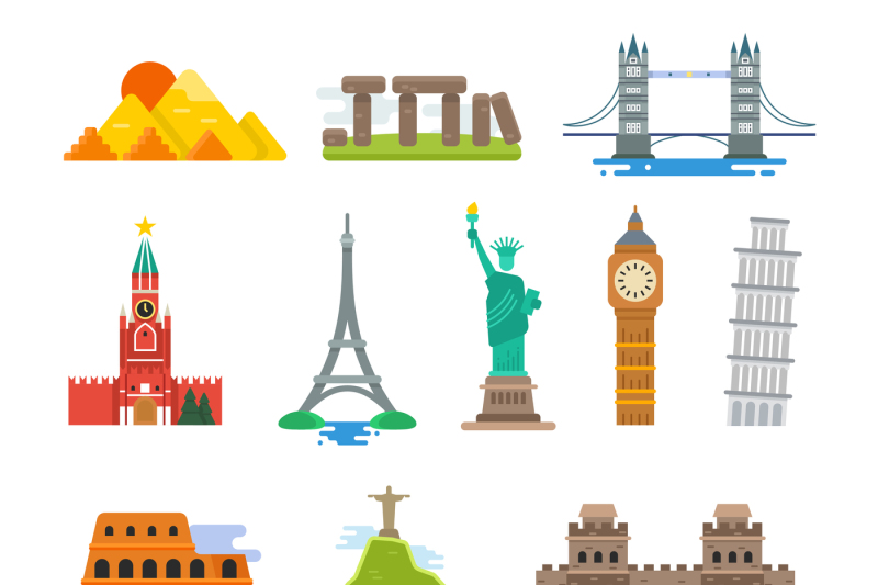 Famous Architecture World Travel Vector Landmarks Icons By