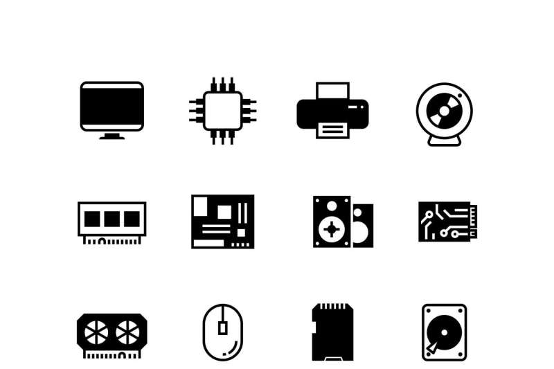 computer hardware hdd memory ram microchip cpu vector icons by microvector thehungryjpeg com computer hardware hdd memory ram