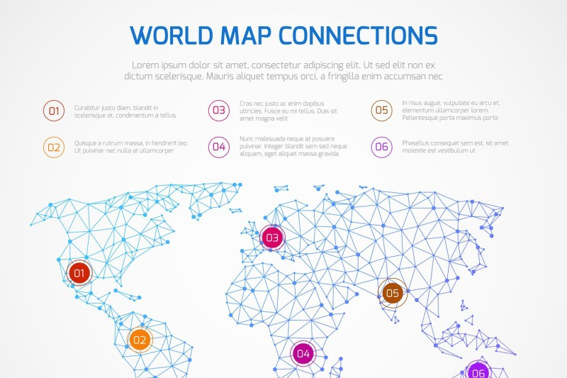 World Map Vector Infographics Template With Internet Connections