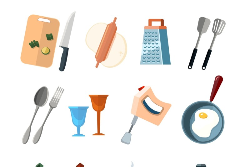 Vintage Kitchen Tools, Home Cooking Vector Icons Set By Microvector    TheHungryJPEG.com