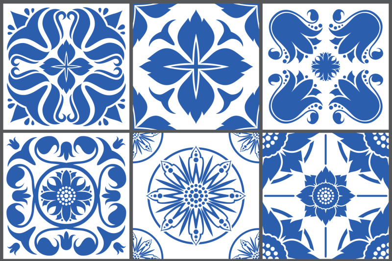 vintage ceramic tiles vector