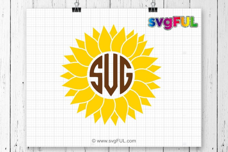 Free Svg, Sunflower Svg, Sunflower Monogram Svg, SVG Files