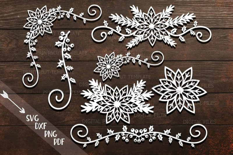 Free Poinsettia Christmas Border Swirls Decorations Paper Cut Svg Crafter File Free Svg Cut Files For Commercial And Personal Use