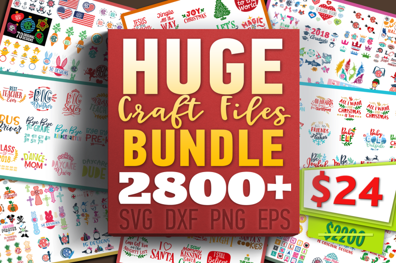 Free HUGE Craft Files Bundle in SVG, DXF, PNG, EPS formats