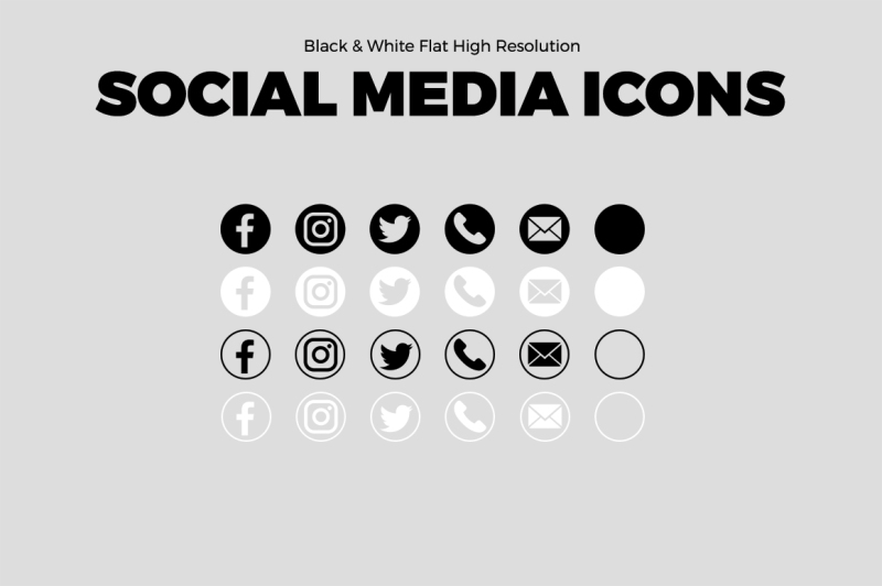 Black White Social Media Icons By Karajoann Thehungryjpeg Com