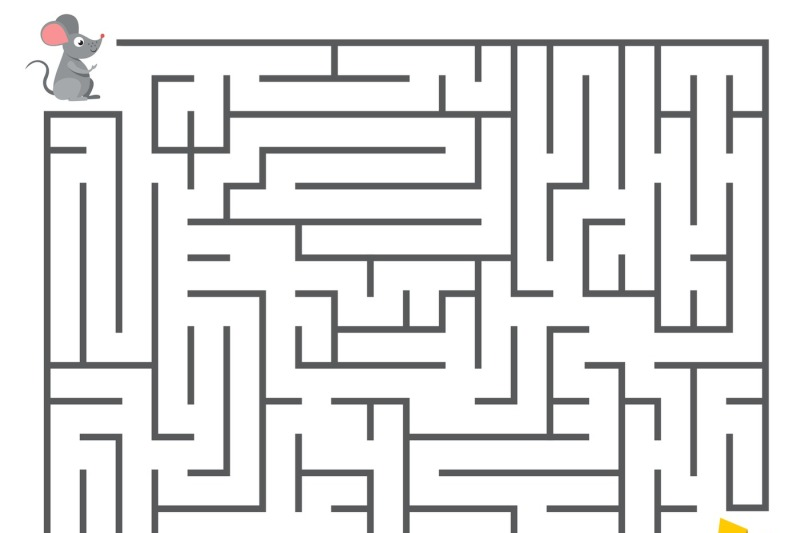 Cute Mouse Searching Cheese Kids Maze Puzzle Labyrinth Vector