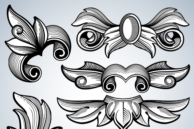 decorative ornate engraving scroll ornament leaves of baroque victori by microvector thehungryjpeg com decorative ornate engraving scroll