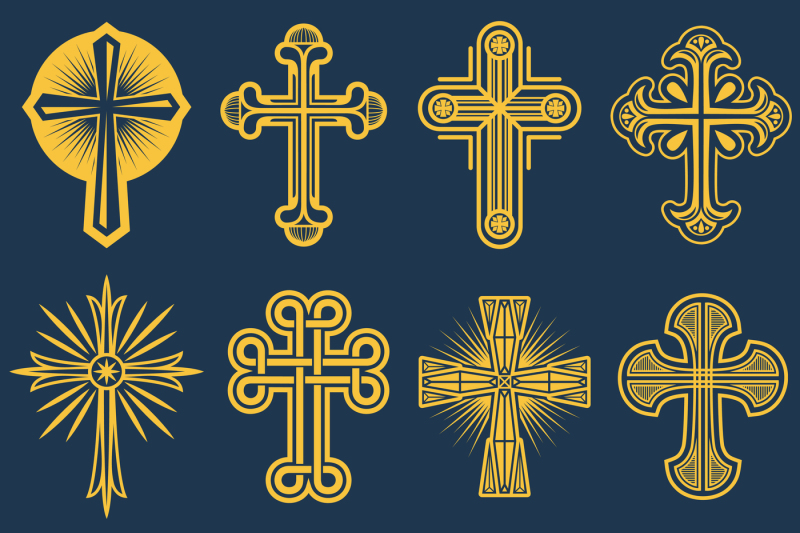b66003ee2cb0e Gothic catholic cross vector icons, catholicism symbol By Microvector |  TheHungryJPEG.com