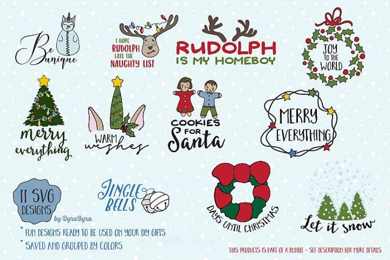 Fun Christmas Svg Bundle Unicorn Svg Christmas Tree Rudolph By