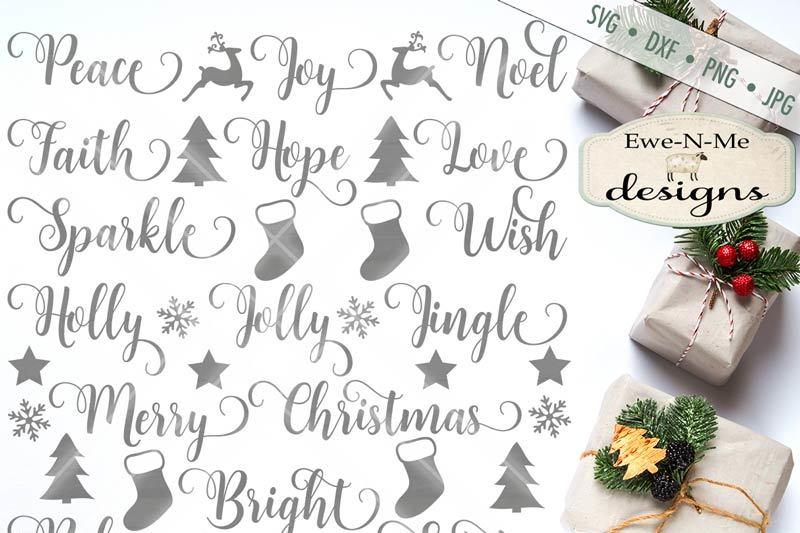 Swirly Christmas Words Svg By Ewe N Me Designs Thehungryjpeg Com