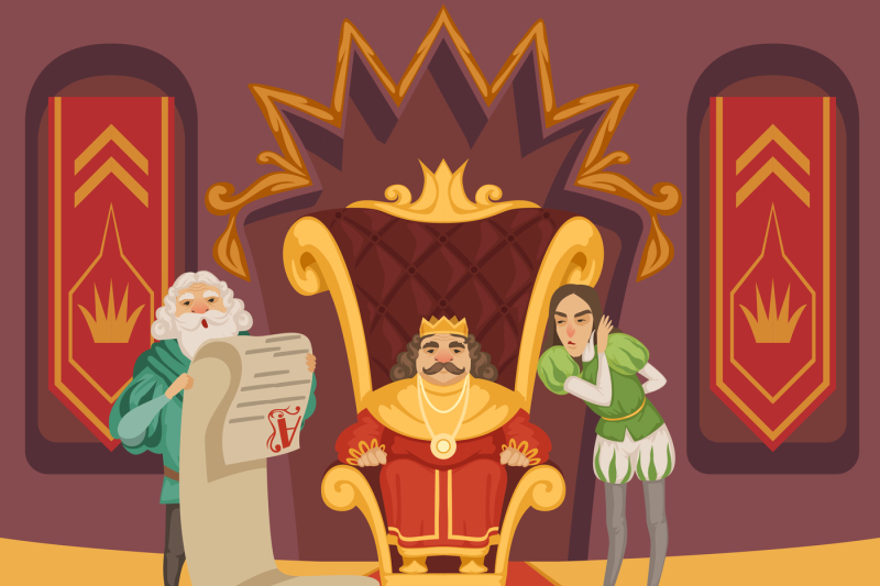 King on the throne and his retinue. Cartoon characters set By ONYX    TheHungryJPEG.com