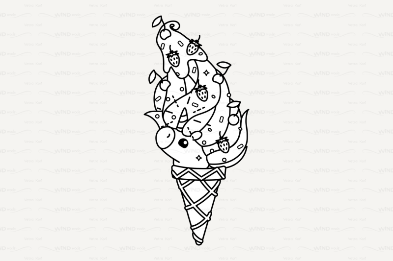 vector Cute outline unicorn ice cream cone By WINDmade ...