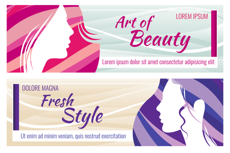 Beauty Salon Vector Banners Set With Beautiful Young Woman Face By Microvector Thehungryjpeg Com