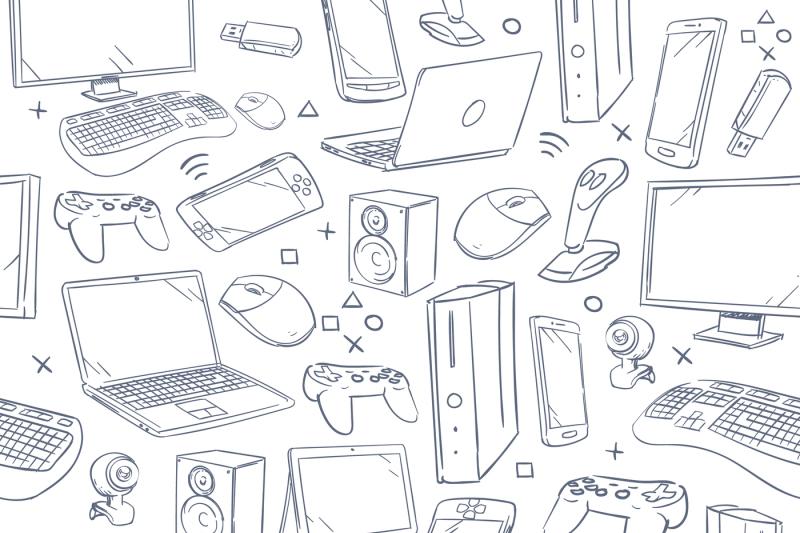 Computer game, device, social gaming vector sketch doodles seamless