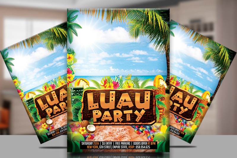 Luau Party Flyer Template By TWorldDesigns