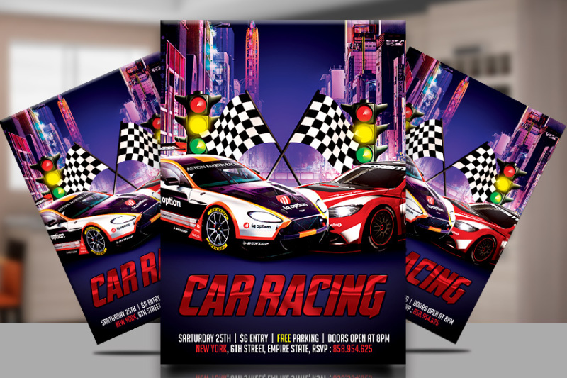 Race Car party Flyer Template By TWorldDesigns