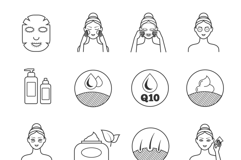 Skin care vector icons  Prevention of aging and eliminating