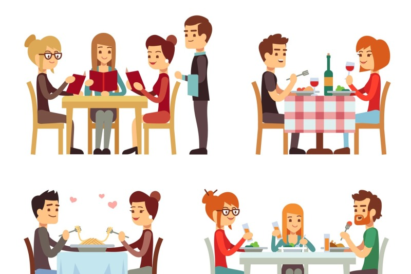 People In Restaurant Eating Dinner Vector Flat Concepts By