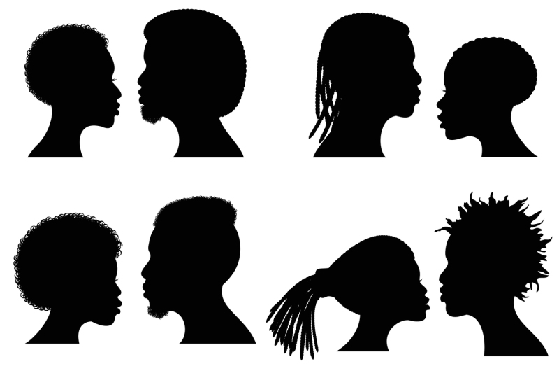 african female and male face vector silhouettes  afro american couple by microvector