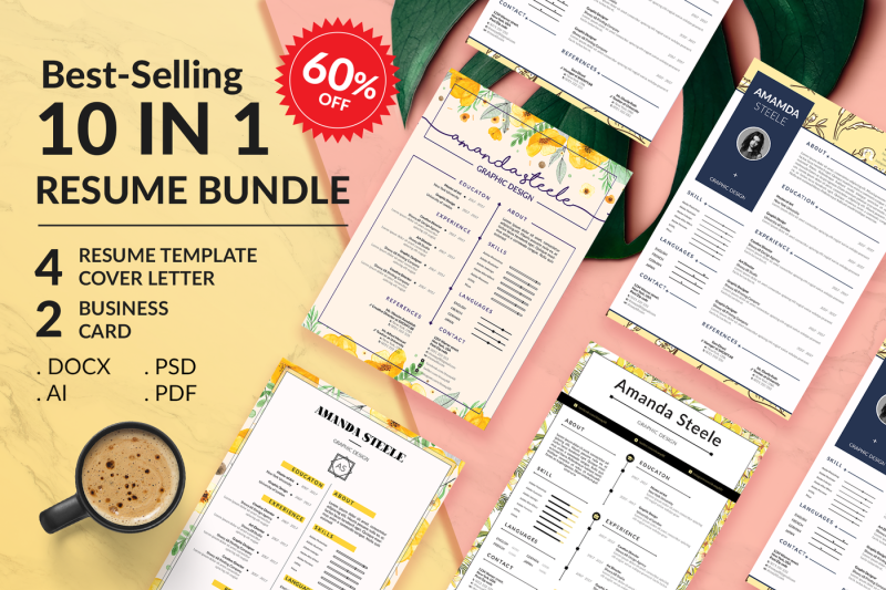 Sale 60 10 IN 1 Floral Resume BUNDLE Template N By Showy68Template
